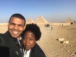 lilian raji at giza pyramids